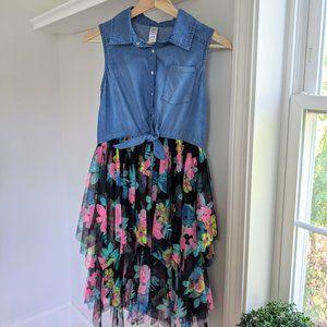 Justice Big Girls Floral Denim Tutu Dress 14/16